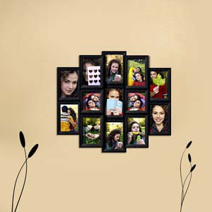 13 photo collage frame black
