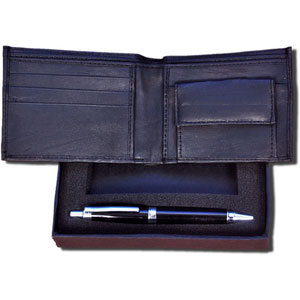 2 in 1 gift set gents leather wallet and heavy pen