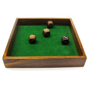 4 dice square tray wooden games