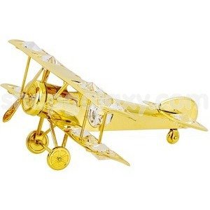 aeroplane gold plated with swarovski crystals
