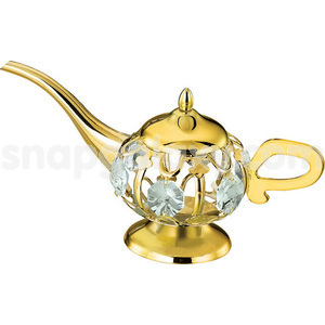 aladdin lamp gold plated with swarovski crystals