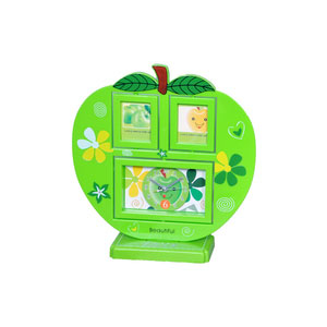 apple shape photo frame clock 2 pictures green