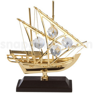 arabian fishing boat gold plated with swarovski crystals