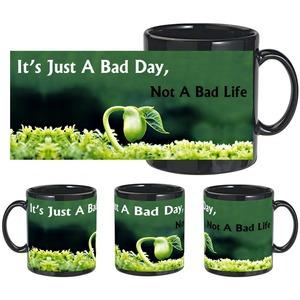 bad day bad life black mug