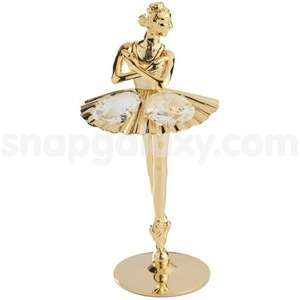 ballerina dancing gold plated with swarovski crystals