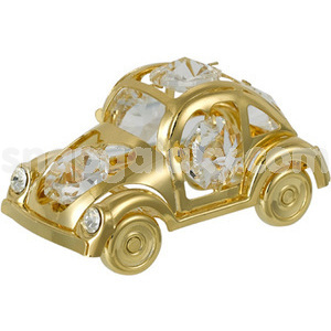 beetle car gold plated with swarovski crystals