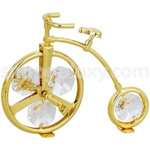 bicycle gold plated with swarovski crystals