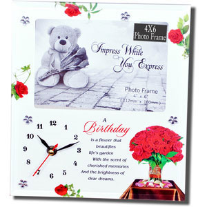 birthday wish photo frame with clock
