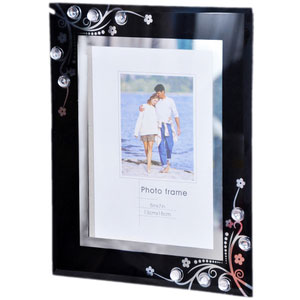 black artistic glass photo frame 5x7
