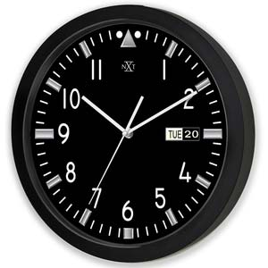 black with day and date designer clock from nextime 90222