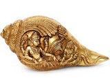 Brass Shankh (Vishnu & Lakshmi)  in Brass