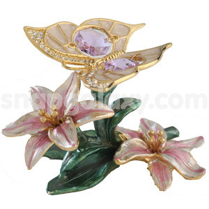 butterfly morning glory on enamel base gold plated with swarovski crystals