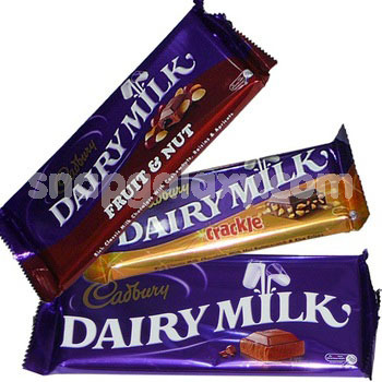 cadbury assorted bars crackle fruitnut dairymilk