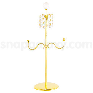 candle holder double gold plated with swarovski crystals