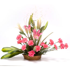 carnations lilies basket