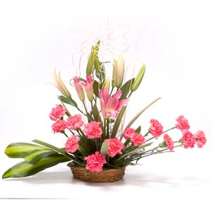carnations lilies basket midnight