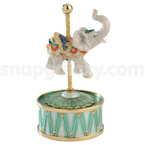 carousal elephant with music stand gold plated with swarovski crystals