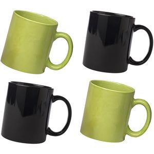 ceramic black and green mug combo pack of 4pcs