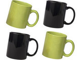 Ceramic Green and Black Mug Combo Pack 4pcs