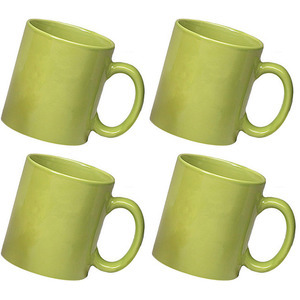 ceramic green mug combo of 4 pcs