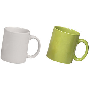 ceramic white and green mug combo pack 2pcs