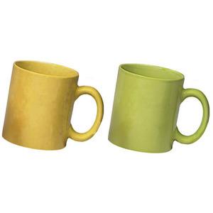 ceramic yellow and green mug combo pack 2pcs