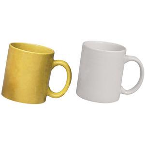 ceramic yellow and white mug combo pack 2pcs