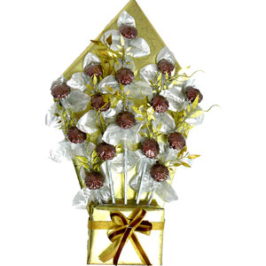 chocolates bouquet brown flowers