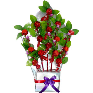 chocolates bouquet red flowers