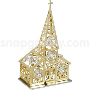 church gold plated with swarovski crystals