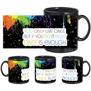 colorful life black mug