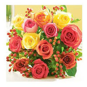 colorful roses with warm colorful wishes