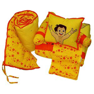 crib set chotta bheem dolphin yellow