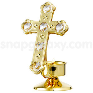 cross with candle gold plated with swarovski crystals