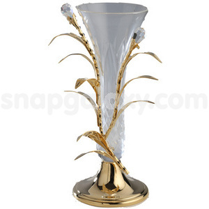 crystal glass flower vase gold plated with swarovski crystals
