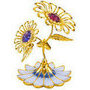 daisy flower double with enamel base gold plated with swarovski crystals