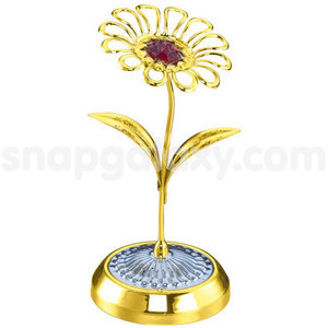 daisy flower single gold plated with swarovski crystals