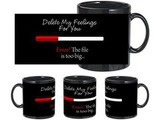 Delete Feelings Black Mug