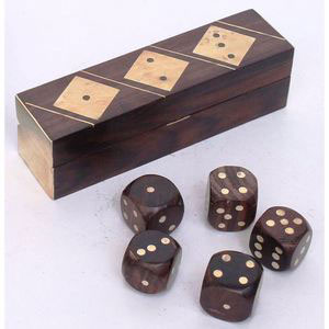 dice box brass inlay wooden games