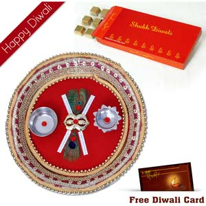 diwali chcolates with puja thali