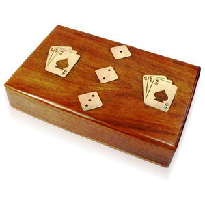double cards with dice in a box wooden games