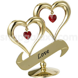 double heart love gold plated with swarovski crystals