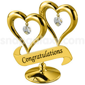 double heart with congratulations gold plated with swarovski crystals