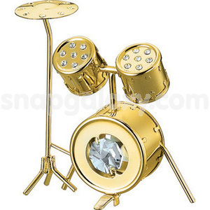 drum gold plated with swarovski crystals
