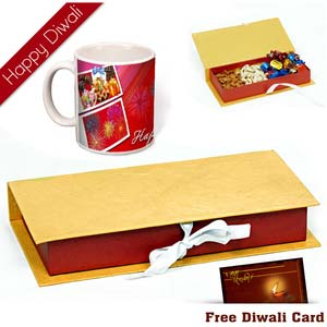 dryfruits box with diwali wishes mug