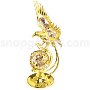 eagle on globle gold plated with swarovski crystals