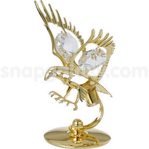 eagle small gold plated with swarovski crystals