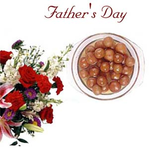 fathers day flowers and gulabjamun