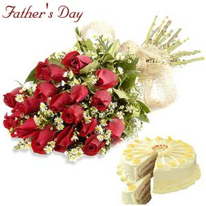 fathers day roses and cake