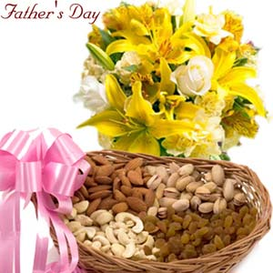 fathers day roses and dryfruits